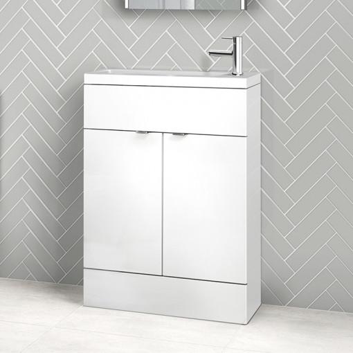 Austin 600mm White Gloss Freestanding Slimline Vanity Unit