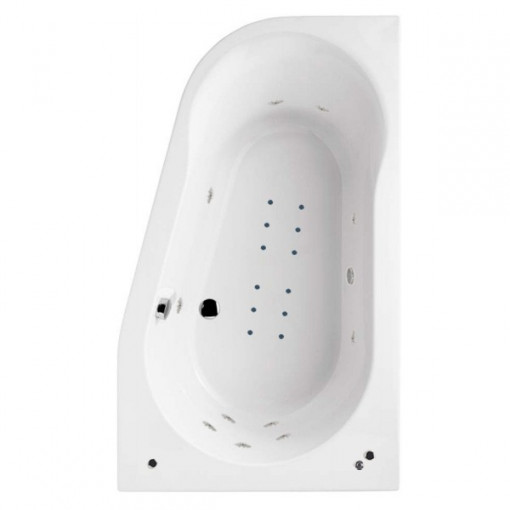 1500 x 900 Prima Offset Luxury Right Handed Corner Hydrotherapy Bath