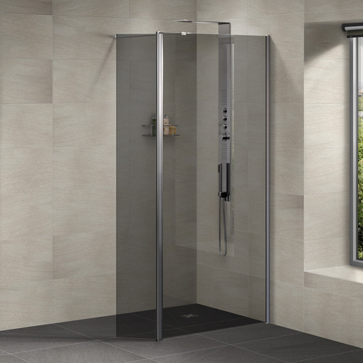 Neptune 800 Smoked Glass Walk In Shower Enclosure With 300