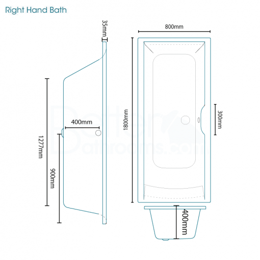 Voss 1800 x 800 Right Hand Straight Shower Bath with 6mm Hinged Screen