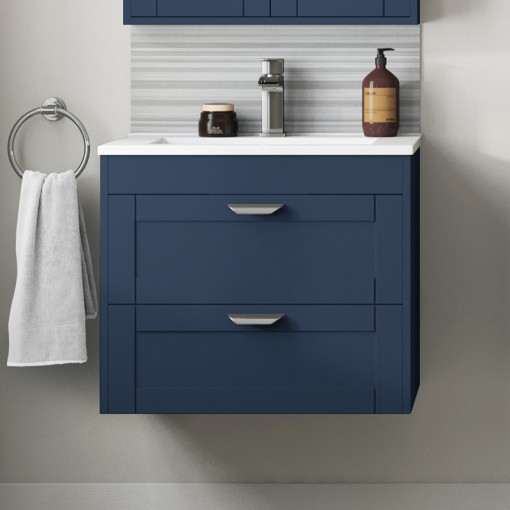 Nottingham Indigo Blue 600 Two Drawer Wall Hung Vanity Unit