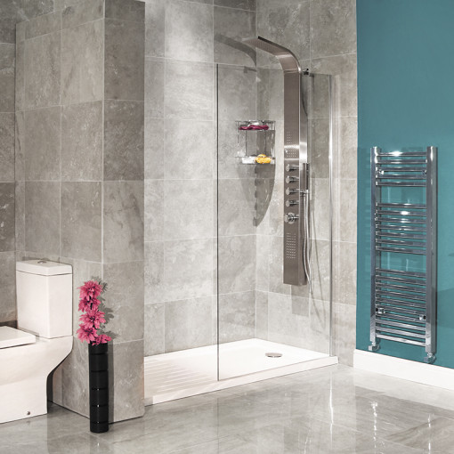 Aqualine™ 8mm 1400 x 900 Walk In Enclosure With Slimline Shower Tray