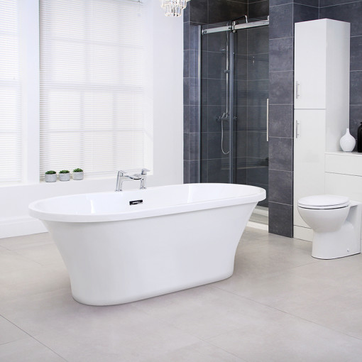 Venice 1670 x 730mm Double Ended Luxury Freestanding Bath with Waste and Voss Deck Mounted Tap