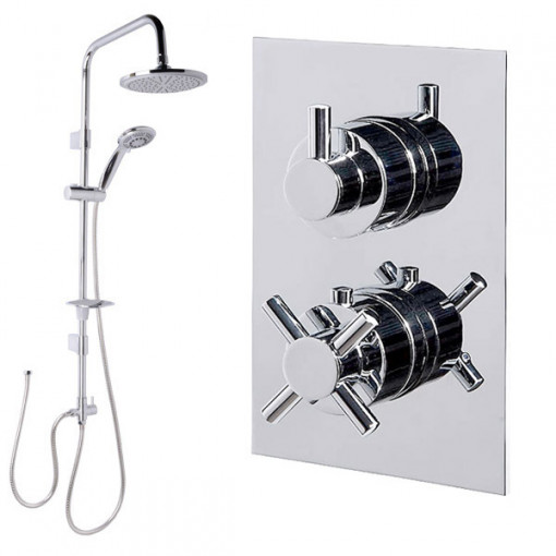 Dualex Riser Slide Shower Rail Kit with Style Dual Valve & Wall Outlet