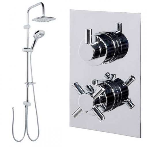 Vision Riser Slide Shower Rail Kit with Style Dual Valve & Wall Outlet