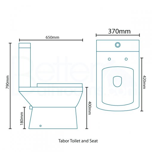 Tabor™ 1500 Shower Bath & 560mm Two Piece Suite with Quadra Taps