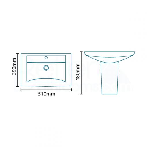 Modena™ 50 Semi Pedestal Bathroom Suite
