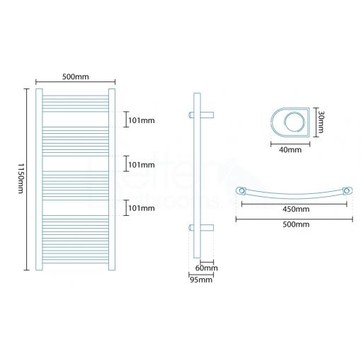 Beta Heat Electric 1150 x 500mm Curved Chrome Heated Towel Rail