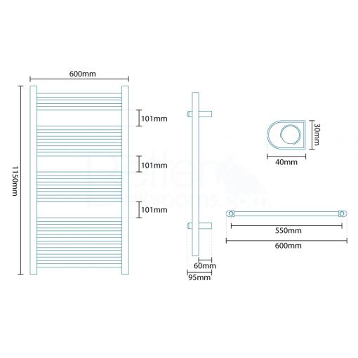 Beta Heat Electric 1150 x 600mm Straight Chrome Heated Towel Rail
