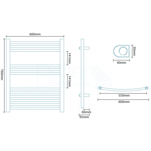 Beta Heat Electric 760 x 600mm Curved White Heated Towel Rail