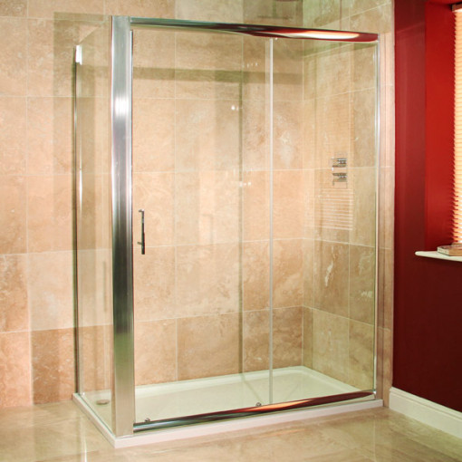 Aquafloe™ 6mm 1400 x 700 Sliding Door Shower Enclosure