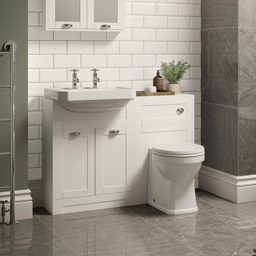 Nottingham White Semi Inset 2 Tap Hole Combination Unit with Park Royal™  Back to Wall Toilet