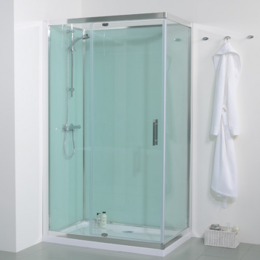 1200 X 800 Quatro Shower Cabin With Aqua White Back Panels