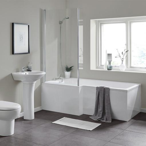 1700 Veneto Left Hand Square Shower Bath Suite