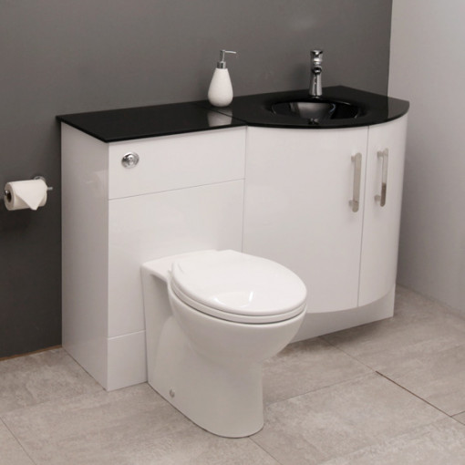 Vigo Right Hand Bow Front Combination Unit with Black Basin