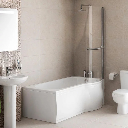 Modern 1500 x 800 Right Hand P-Shaped Shower Bath with Front Panel and 6mm Curved Screen