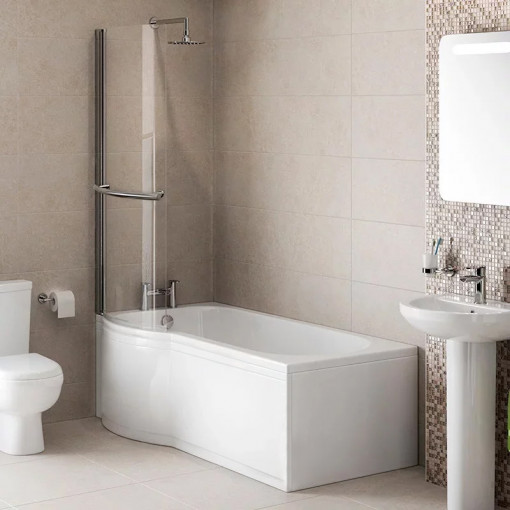 Modern 1500 x 800 Left Hand P-Shaped Shower Bath with Front Panel and 6mm Curved Screen