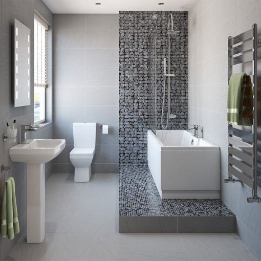 Tabor™ 1400 Shower Bath & 560mm Two Piece Suite with Tabor™ Taps