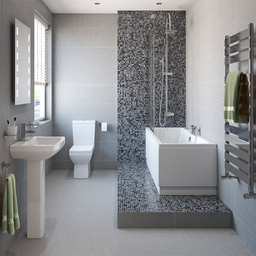 Tabor™ 1600 Shower Bath & 560mm Two Piece Suite with Form Taps