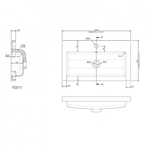 Austin 600mm Grey Avola Wall Hung Two Drawer Vanity Unit