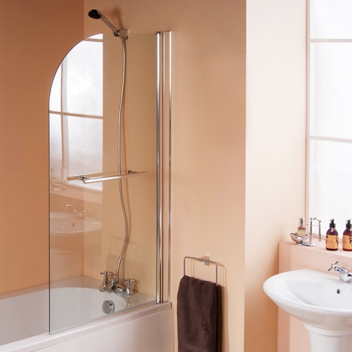 Carona 1700 x 750 Straight Shower Bath with 6mm Hinged Screen