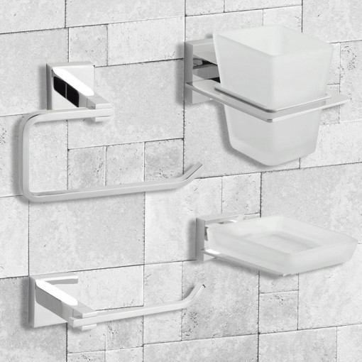 Pearl 4 Piece Bathroom Accessory Pack