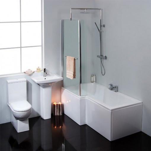 Modena Verona Left Hand Shower Bath Suite with Taps