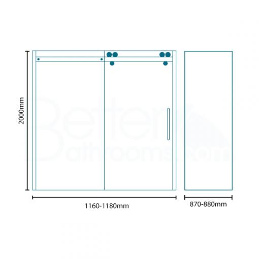 Trinity Premium 10mm 1200 x 900 Right Hand Frameless Sliding Door Enclosure