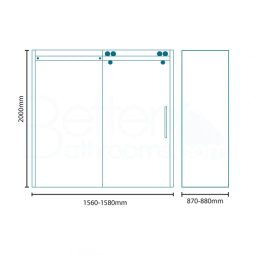 Trinity Premium 10mm 1600 x 900 Right Hand Frameless Sliding Door Enclosure