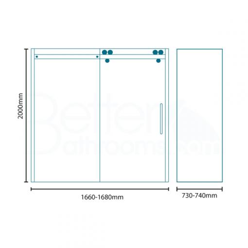 Trinity Premium 10mm 1700 x 760 Right Hand Frameless Sliding Door Enclosure