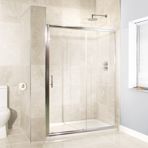 Aquafloe™ 6mm 1600 x 700 Sliding Door Shower Enclosure