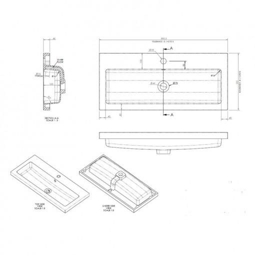 Austin 800mm Grey Avola Freestanding Two Door Vanity Unit