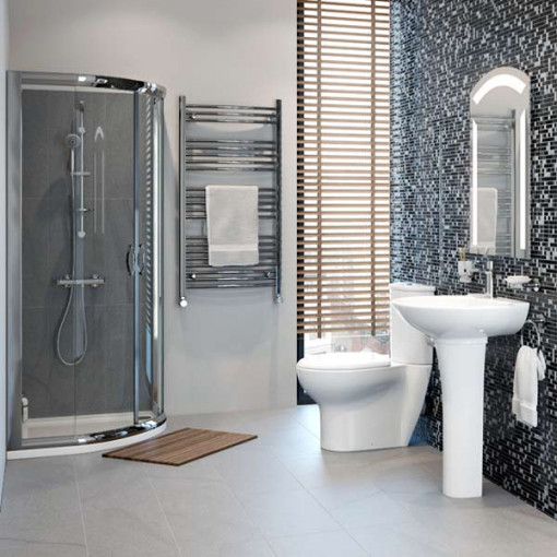 Beta Heat Electric 1150 X 600mm Straight Chrome Heated: Prima Juno 900 Shower Cubicle Suite With Shower Tray