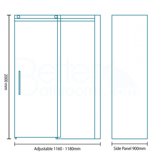 Aquafloe™ Elite ll 8mm 1200 x 900 Frameless Sliding Door Shower Enclosure