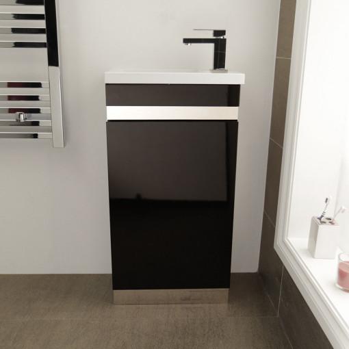 Vigo 420mm Black Cloakroom Vanity Unit