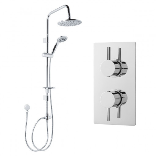 Dualex Riser Slide Shower Rail Kit with S9 Dual Valve & Wall Outlet