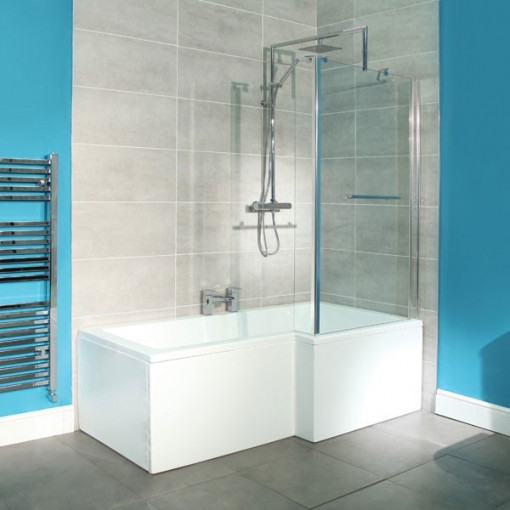 1670mm Shower Bath with Tabor 56 Two Piece Suite inc Taps & Waste