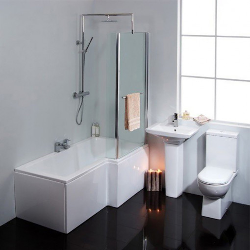 Salou 1675 Right Hand Shower Bath Suite With Taps