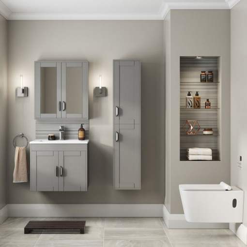 Nottingham Grey Mirrored Cabinet
