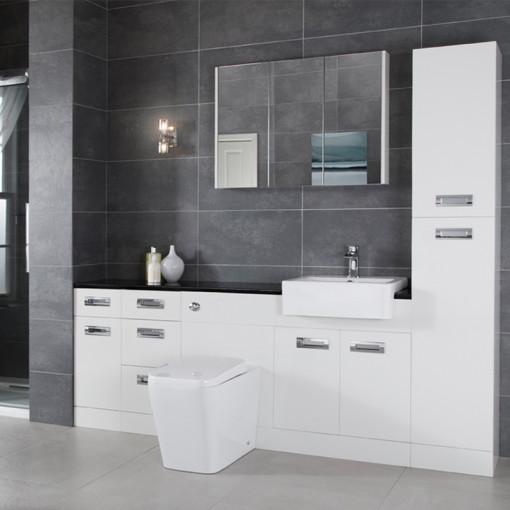 Cuba Toilet & Basin Right Hand Furniture Bathroom Suite with Black Worktop