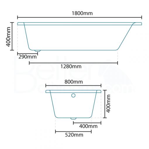 Carona 1800 x 800 Single Ended Bath