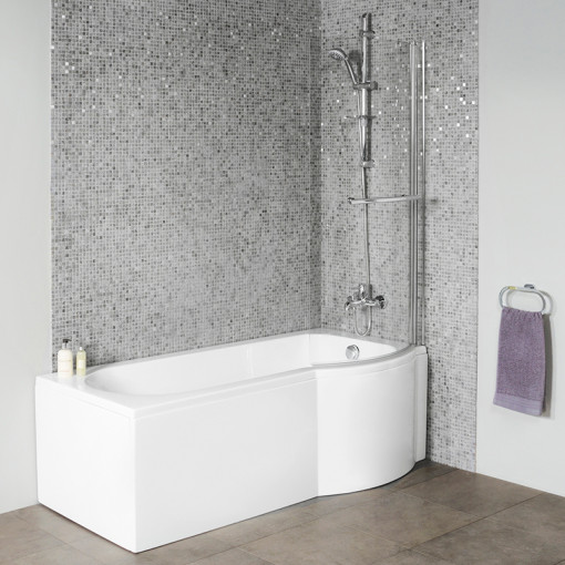 Dee 1600 x 850 Right Hand P-Shaped Shower Bath with 6mm Curved Screen