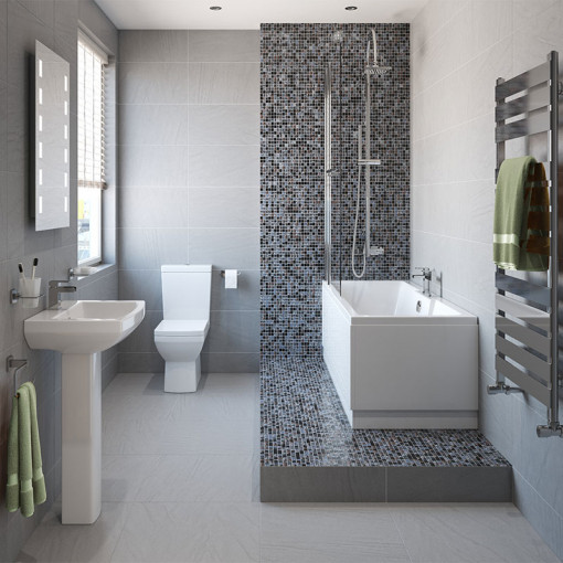Tabor™ 1400 Shower Bath & 460mm Two Piece Suite with Quadra Taps