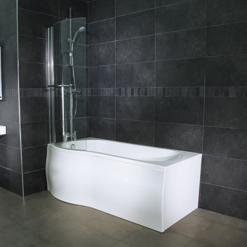 Whirlpool 1675 x 850 Left Hand P-Shaped Shower Bath with 6 Jets & Curved Screen