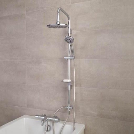 Focus Thermostatic Deck Mounted Bath Shower Mixer with Rail Kit