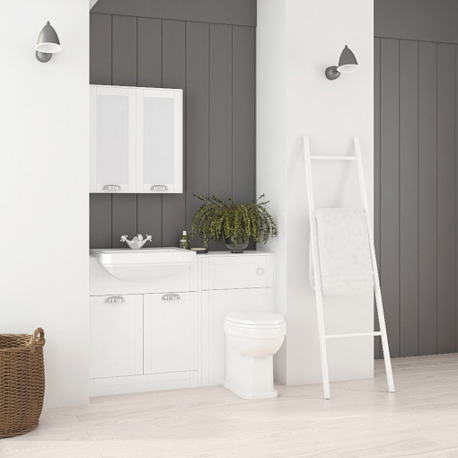 Nottingham White Semi Inset Combination Unit with Park Royal™  Back to Wall Toilet