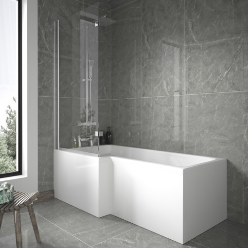 1700mm Left Hand L-Shaped Shower Bath with 6mm Glass Shower Screen