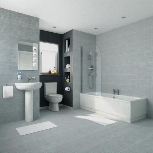 Voss 1400 x 700 Left Hand  Straight Shower Bath with 6mm Hinged Screen