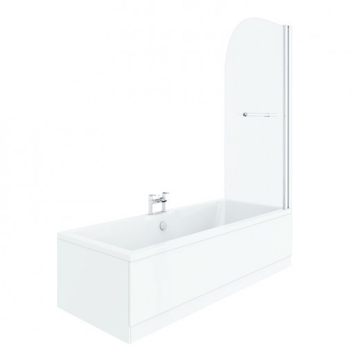 Voss 1700 x 700 Right Hand Straight Shower Bath with 6mm Hinged Screen