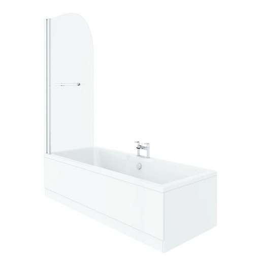 Voss 1600 x 700 Left Hand Straight Shower Bath with 6mm Hinged Screen